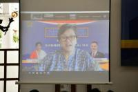 Lestari Moerdijat  saat hadir secara virtual dalam acara 'Sosialisasi Empat Konsensus Kebangsaan: Pancasila, UUD NRI Tahun 1945, NKRI, Bhinneka Tunggal Ika', di Omah Kebon Resto, Kertosari, Kabupaten Temanggung, Jawa Tengah, Jumat (17/9).(foto: Humas MPR)