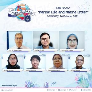 Para pembicara Talk Show Marine Live and Marine Litter yang diselenggarakan para alumni Erasmus Indonesia secara virtual Sabtu (16/10/2021)  sekaligus untuk merayakan acara tahunan Erasmus Days.